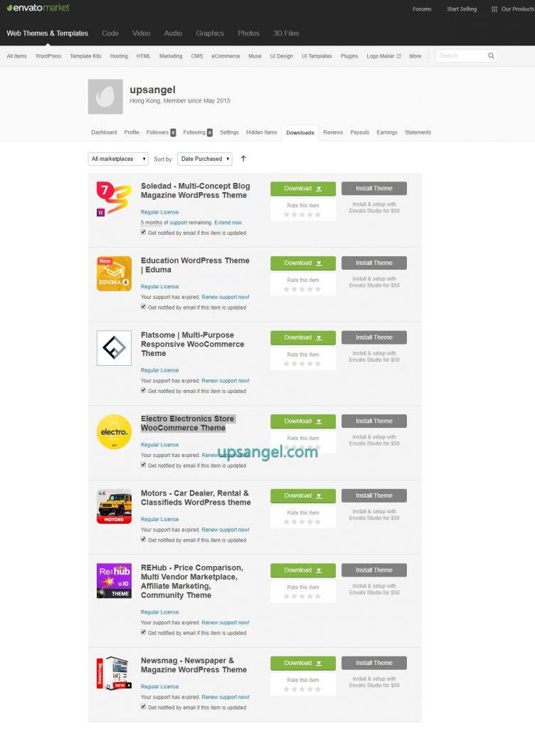 Wordpress佈景主題購買列表