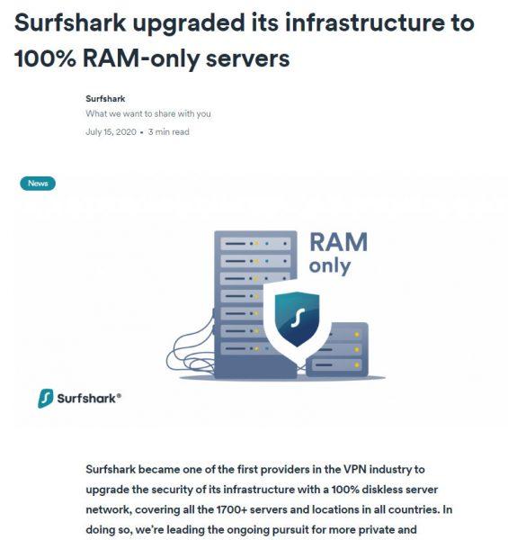 SURFSHARK在本年中開始100%落實緩存式伺服器