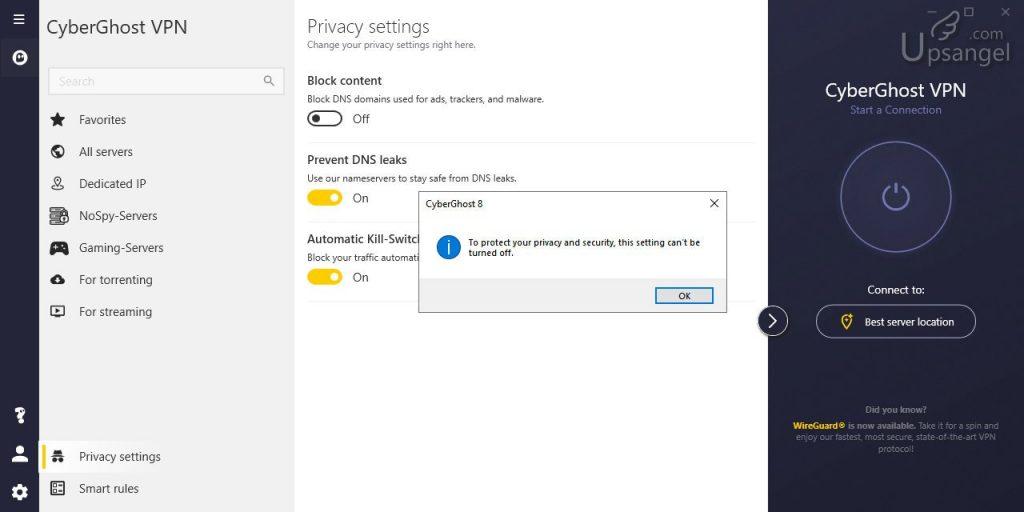 CyberGhost VPN _dns設置_不能關閉